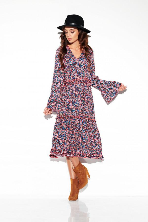 Sukienka midi z falbankami KATIA