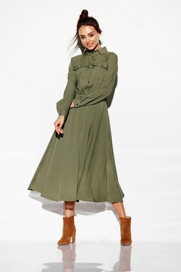 Sukienka szmizjerka maxi kolor