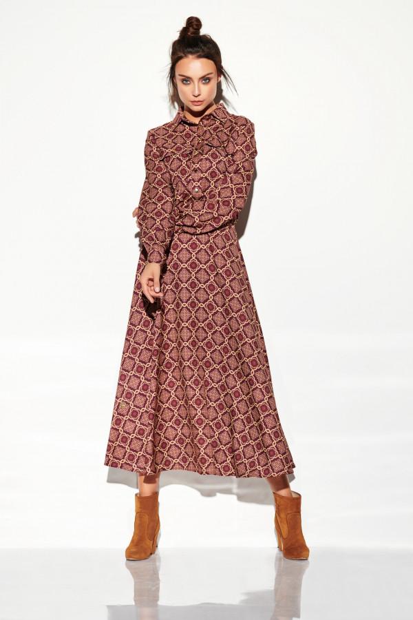 Sukienka szmizjerka maxi wzory