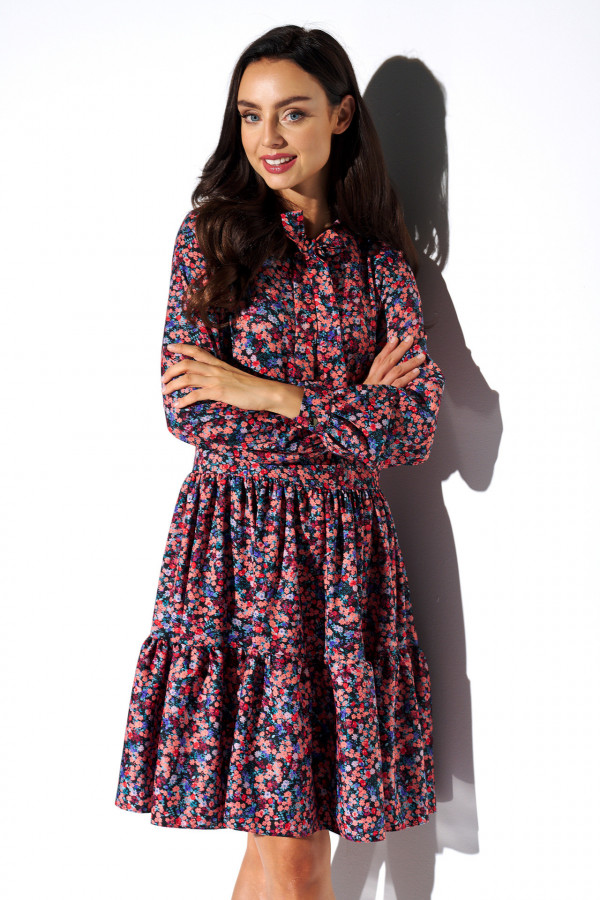 Sukienka we wzory z kokardą AZALIA 1