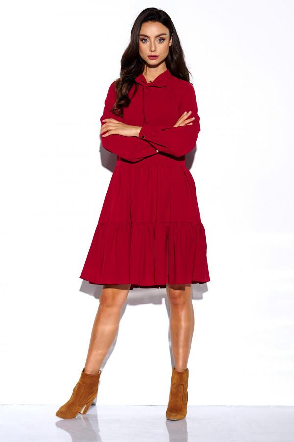 Sukienka monokolor z kokardą BELLA