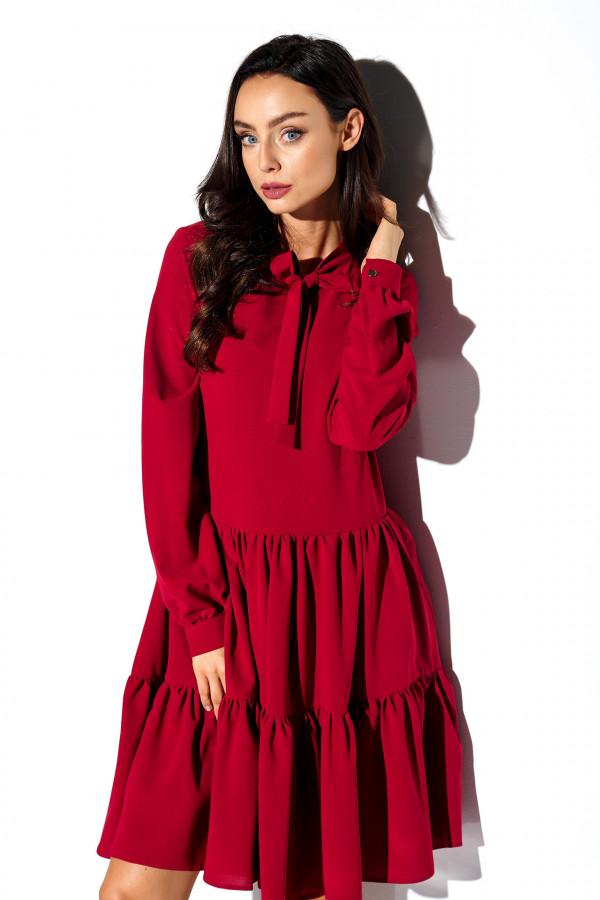 Sukienka monokolor z kokardą BELLA 1