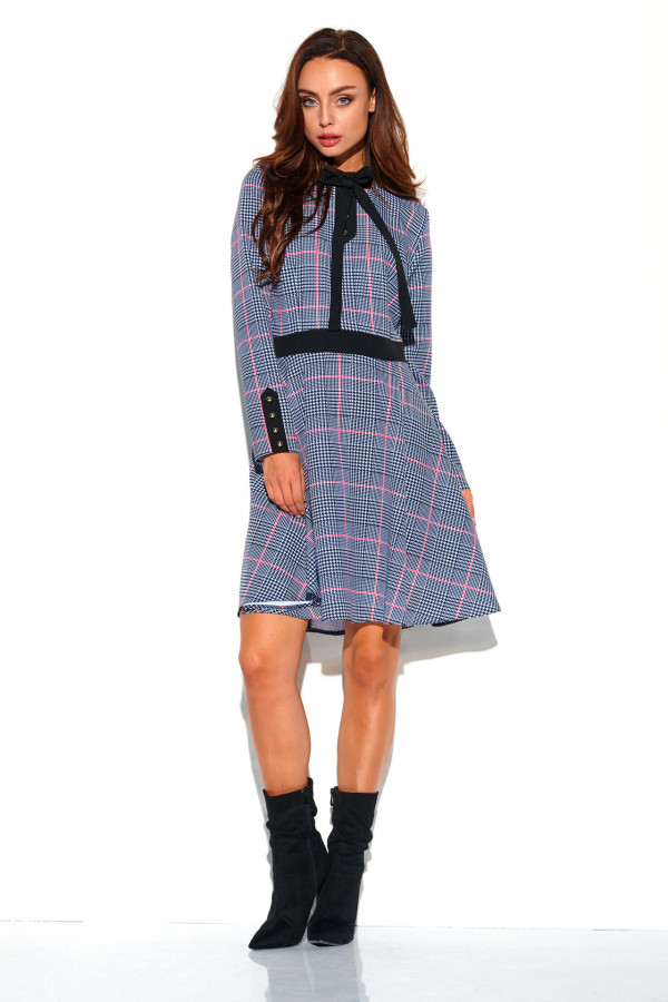 Sukienka w kratkę z kokardą ALEX