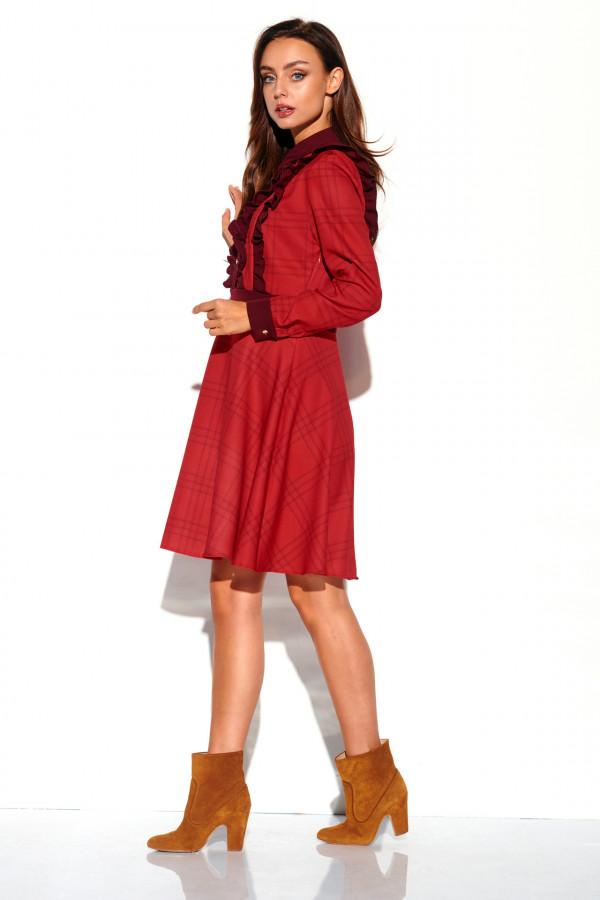 Sukienka w kratę z żabotem DEBBY 2