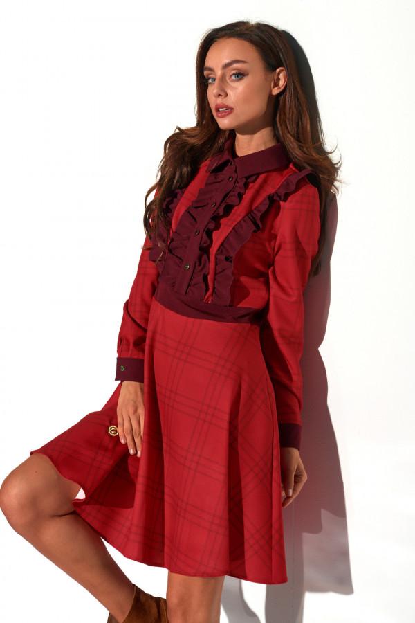 Sukienka w kratę z żabotem DEBBY 3