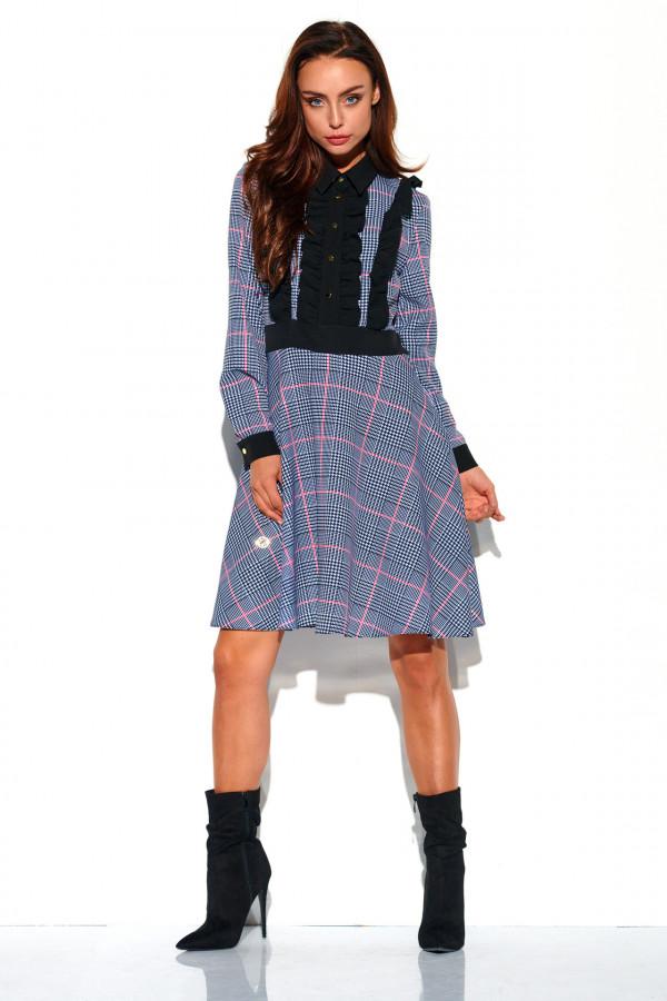 Sukienka w kratę z żabotem DEBBY