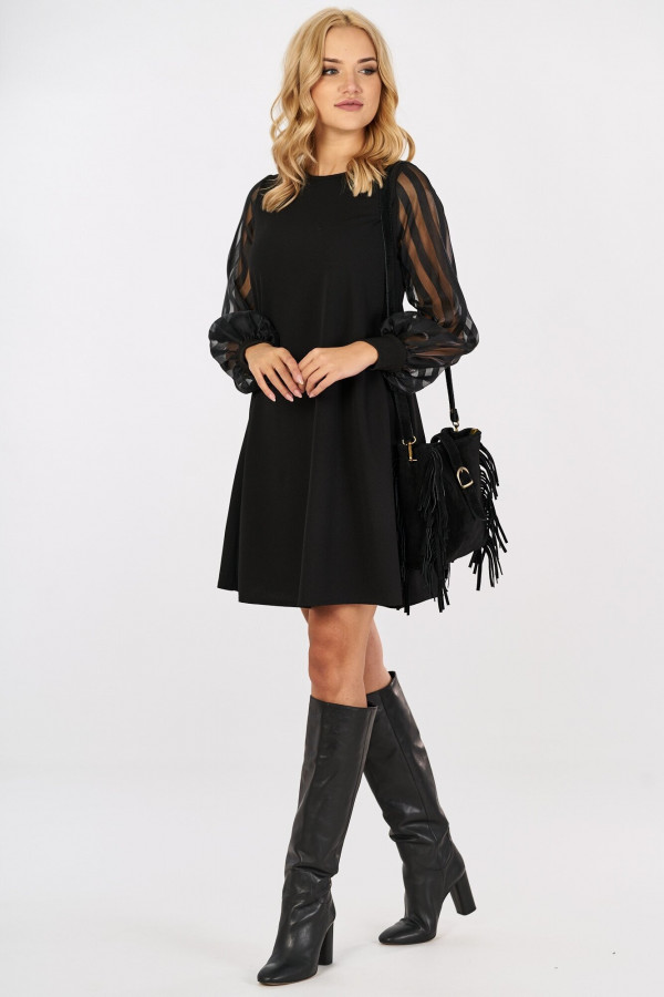 Sukienka z tiulowymi rękawami w paski MIRANDA