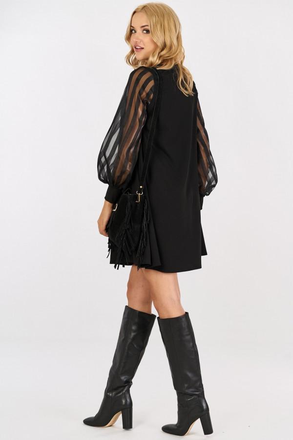 Sukienka z tiulowymi rękawami w paski MIRANDA 1