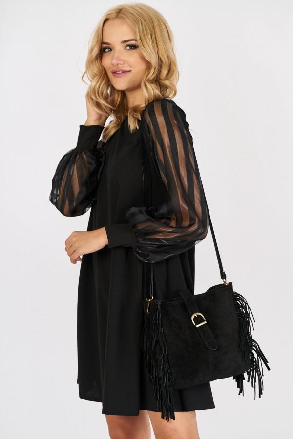 Sukienka z tiulowymi rękawami w paski MIRANDA 2