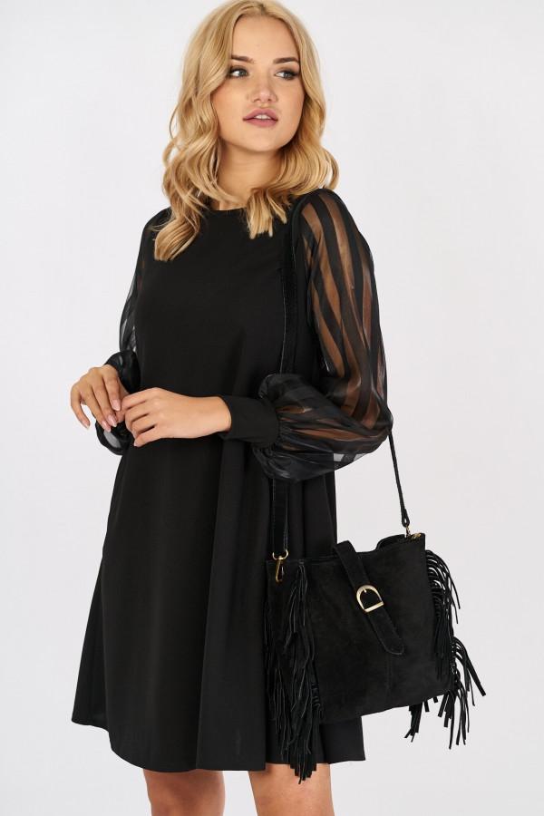 Sukienka z tiulowymi rękawami w paski MIRANDA 3