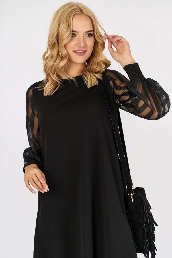 Sukienka z tiulowymi rękawami w paski MIRANDA 4