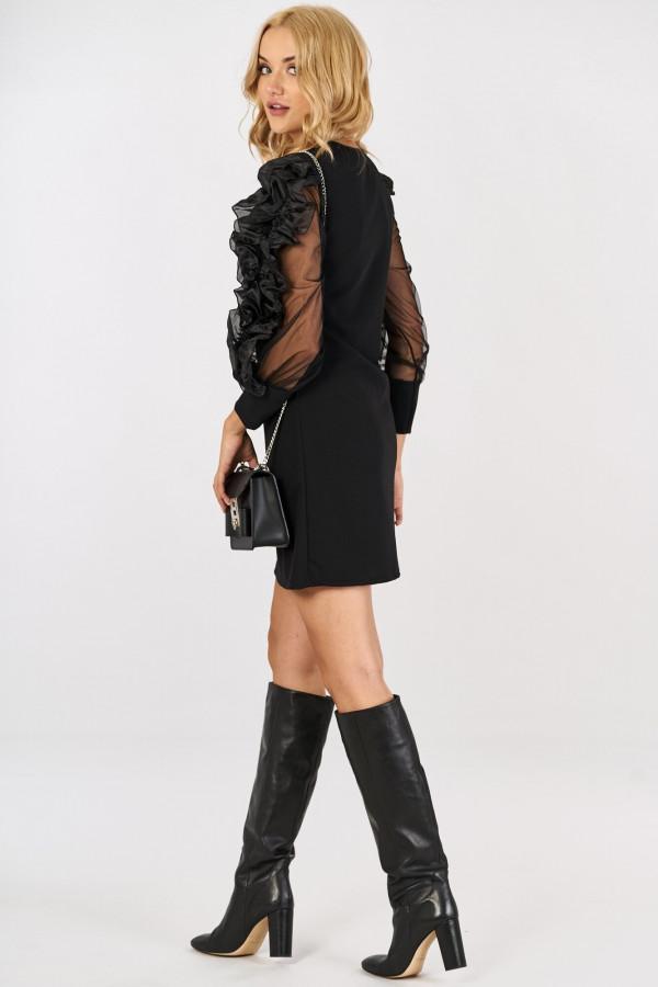 Sukienka z tiulowymi falbanami na rękawach SABRINA 2