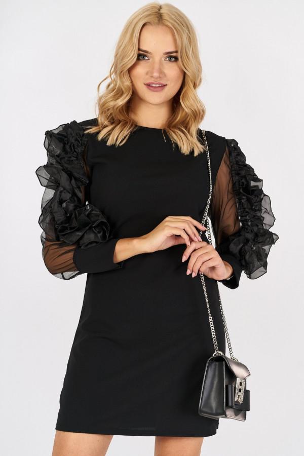 Sukienka z tiulowymi falbanami na rękawach SABRINA 4