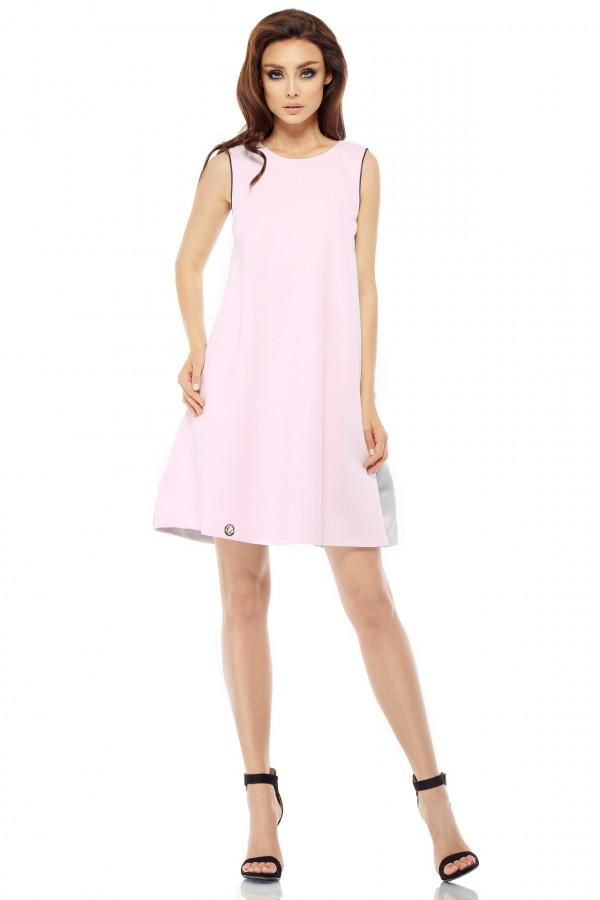 Trapezowa sukienka z satynową falbaną
