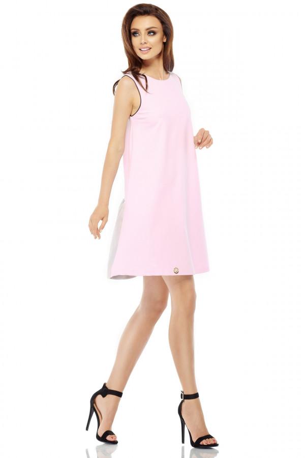 Trapezowa sukienka z satynową falbaną 1