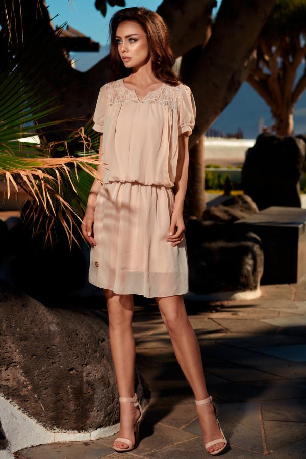 Szyfonowa sukienka z krótkim rękawem 4