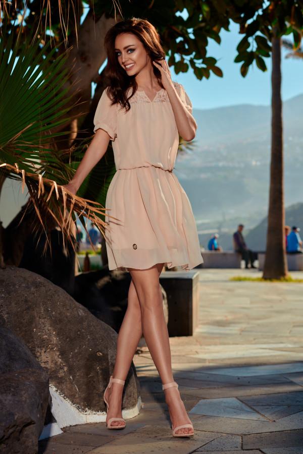 Szyfonowa sukienka z krótkim rękawem 5