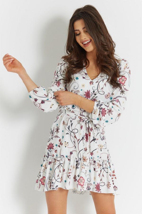 Sukienka we wzory z falbaną IRINA