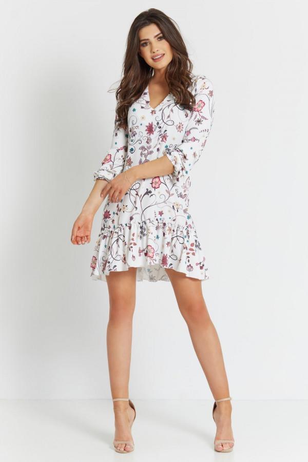 Sukienka we wzory z falbaną IRINA 1