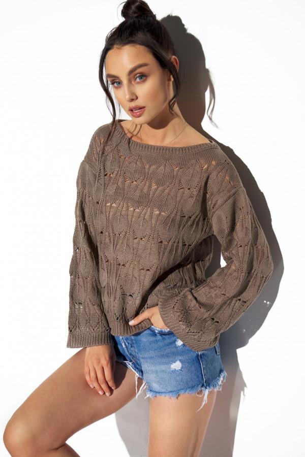 Ażurowy sweter z rozszerzanymi rękawami MANCY