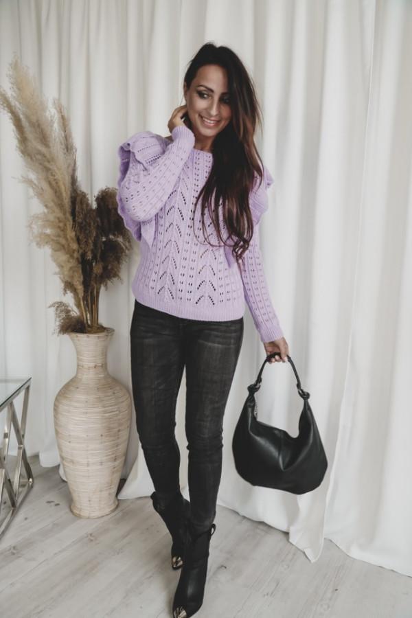 Ażurowy sweter z falbaną SIMENTAL
