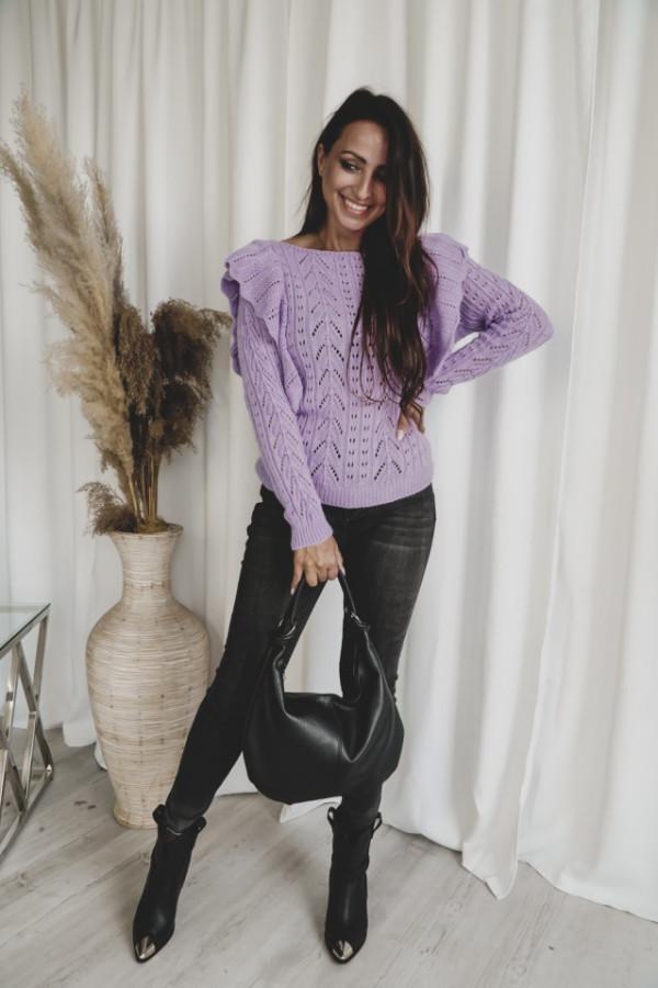 Ażurowy sweter z falbaną SIMENTAL 1