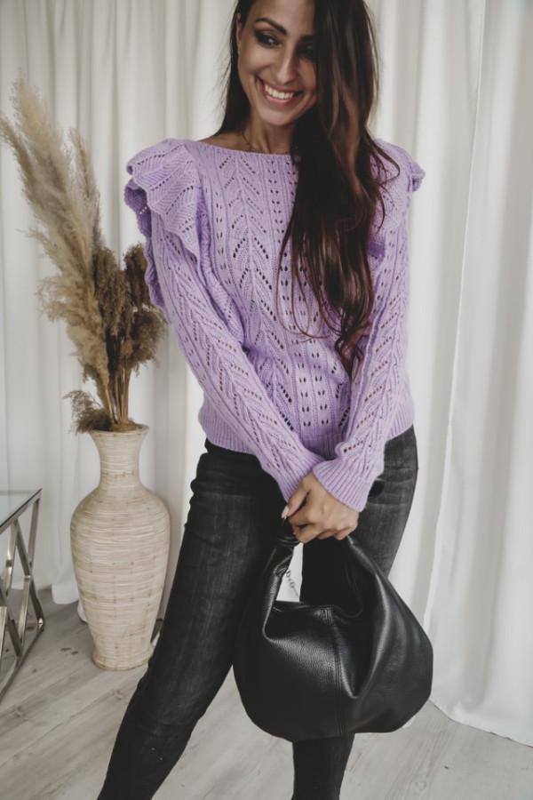 Ażurowy sweter z falbaną SIMENTAL 2