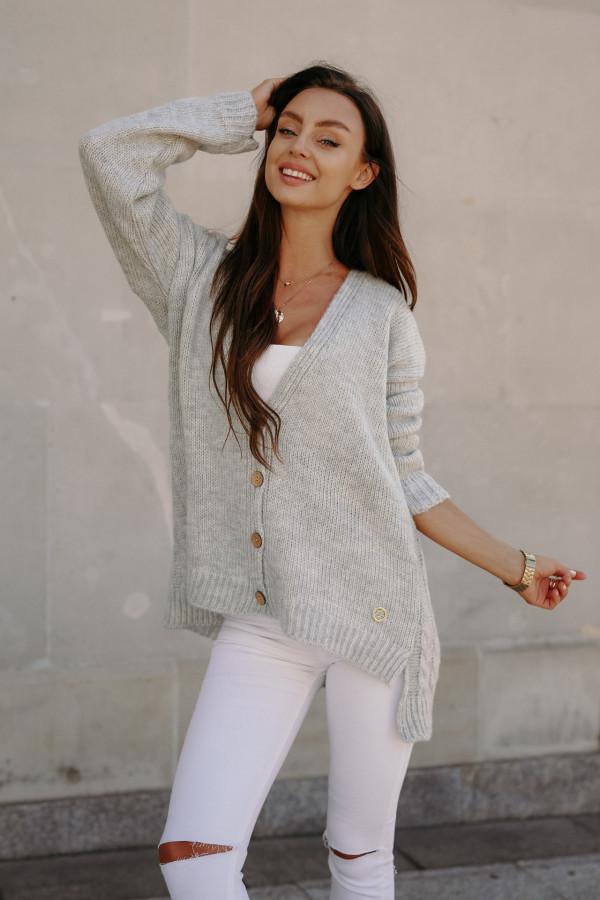 Sweter zapinany z dłuższym tyłem TOKIO 6