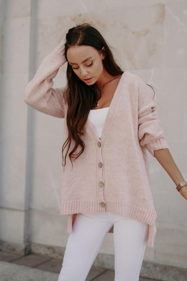 Sweter zapinany z dłuższym tyłem TOKIO 3
