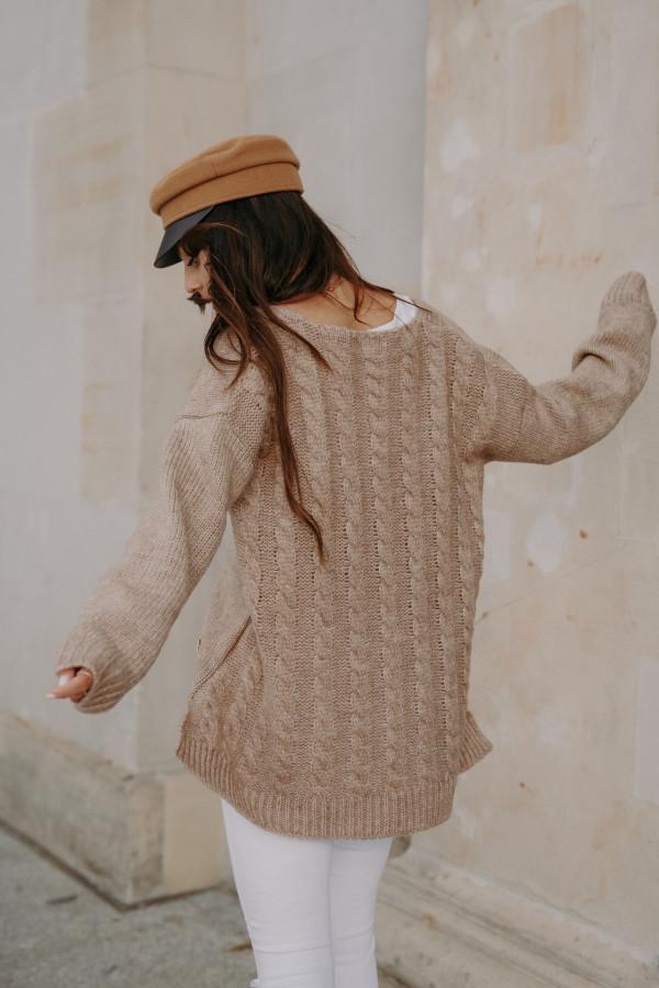 Sweter zapinany z dłuższym tyłem TOKIO 7