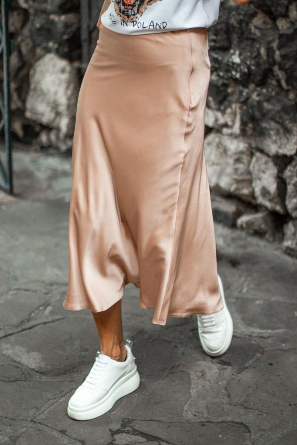 Spódnica midi z atłasu FAUNA 4