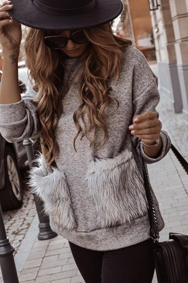 Sweter z futrzanymi kieszeniami VINCHY 2