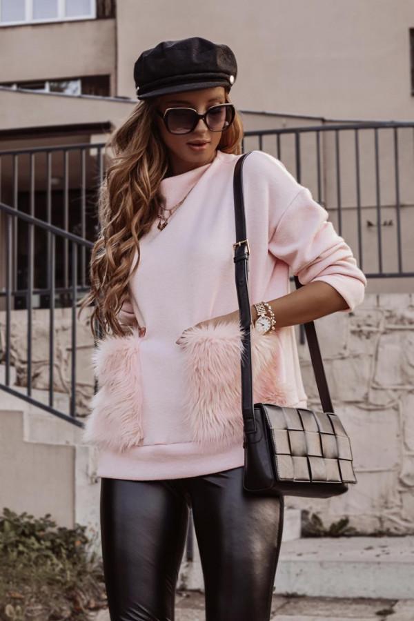 Sweter z futrzanymi kieszeniami VINCHY