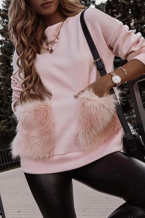 Sweter z futrzanymi kieszeniami VINCHY 1