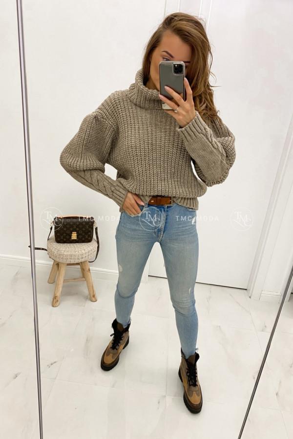 Sweter z warkoczami na mankietach TIMO 2
