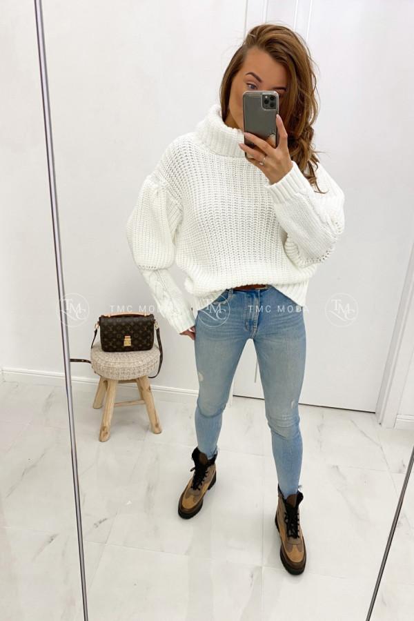 Sweter z warkoczami na mankietach TIMO