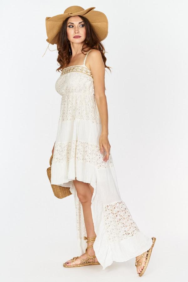 Asymetryczna długa sukienka z koronką w stylu boho