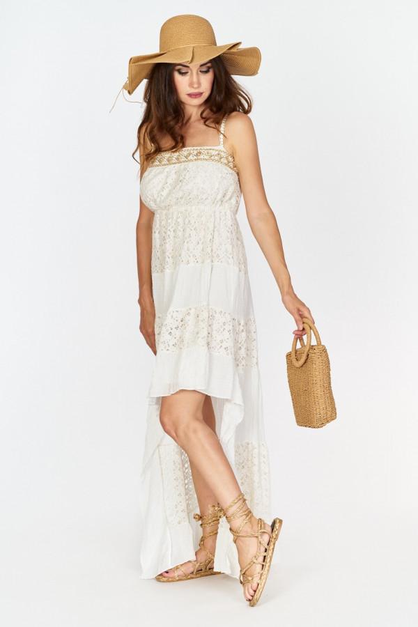 Asymetryczna długa sukienka z koronką w stylu boho 1