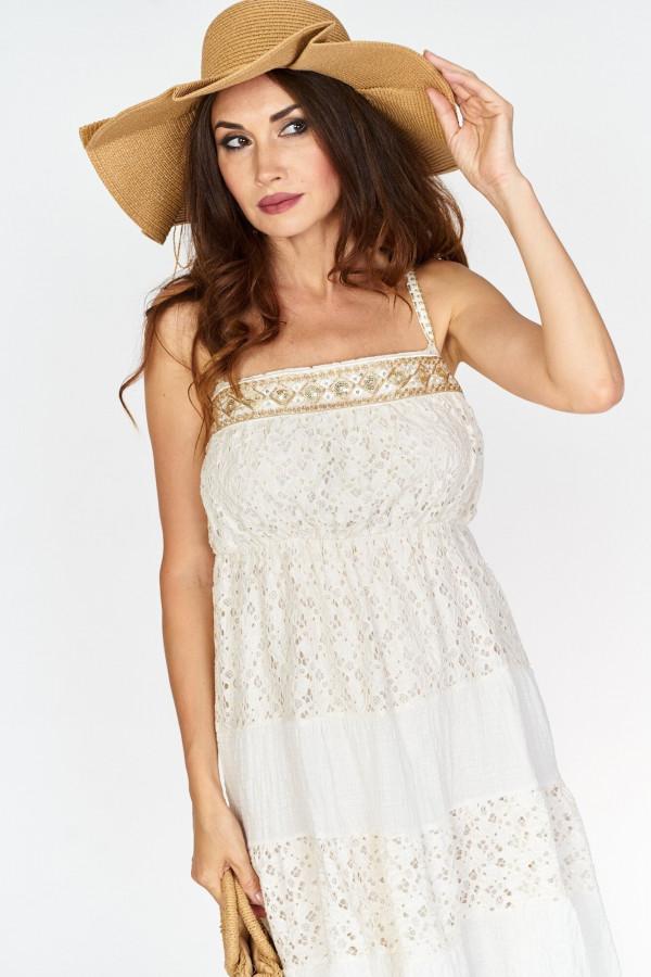 Asymetryczna długa sukienka z koronką w stylu boho 2