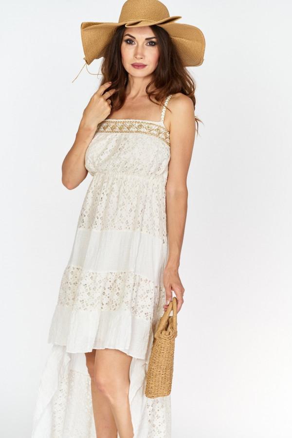 Asymetryczna długa sukienka z koronką w stylu boho 3