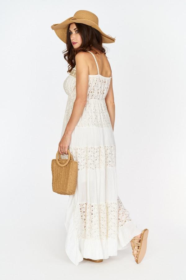 Asymetryczna długa sukienka z koronką w stylu boho 4