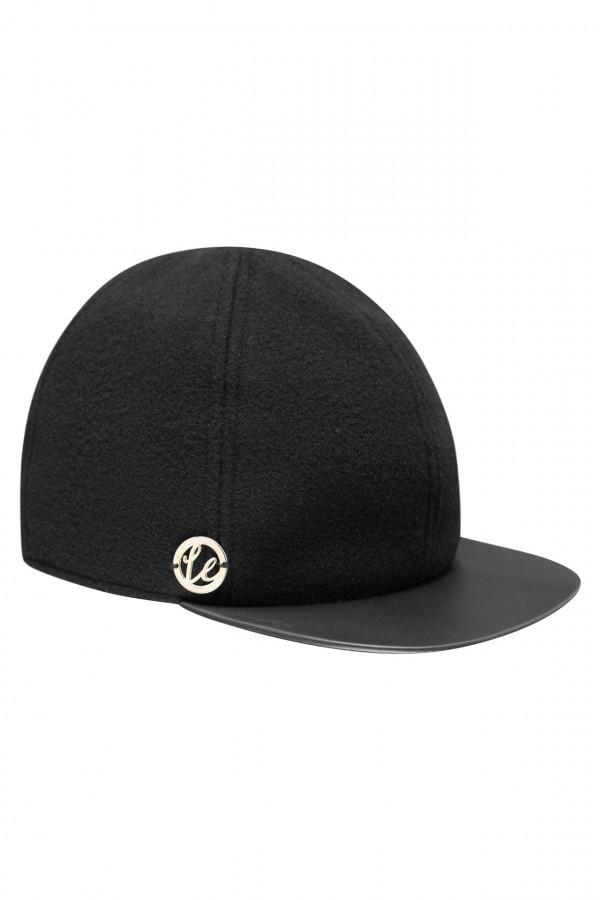 Wełniana czapka z daszkiem z eko skóry 3