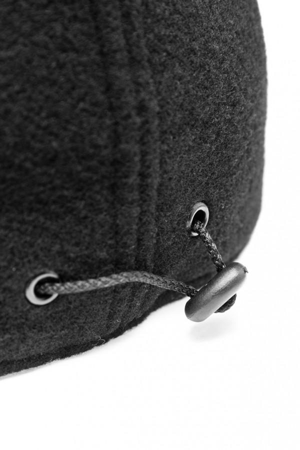 Wełniana czapka z daszkiem z eko skóry 5