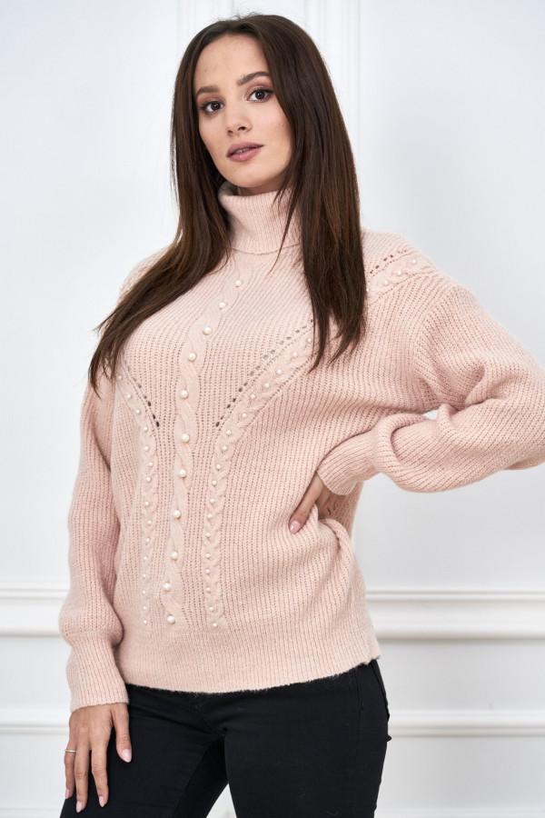Sweter golf z perełkami SANA