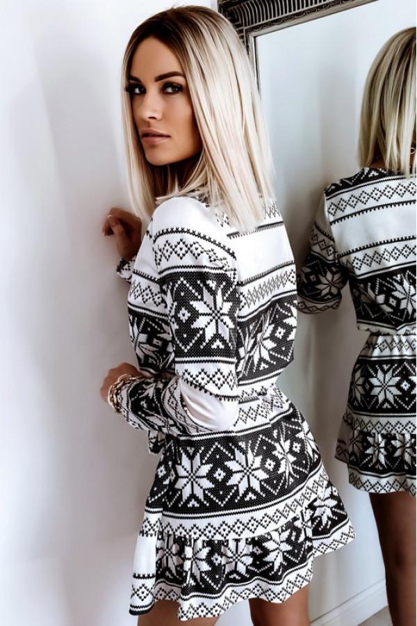 Sukienka welurowa z falbaną NORWAY 3