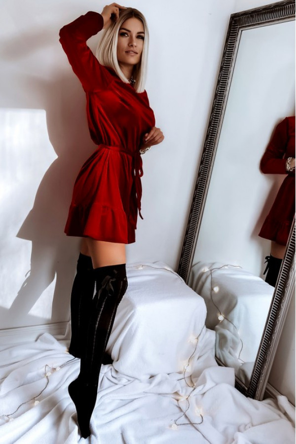 Sukienka welurowa z falbaną NORIN 3