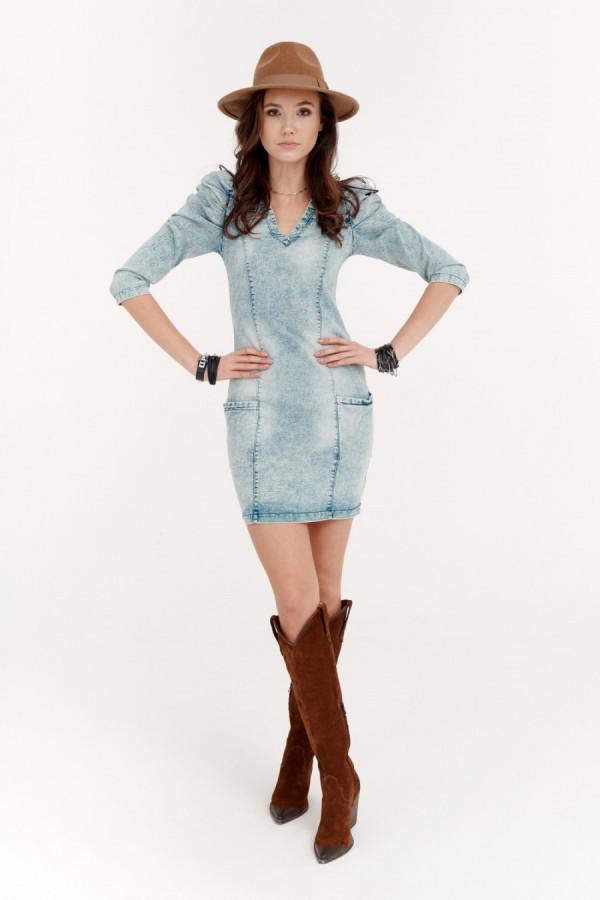 Sukienka jeans bufki NOVIKA 1