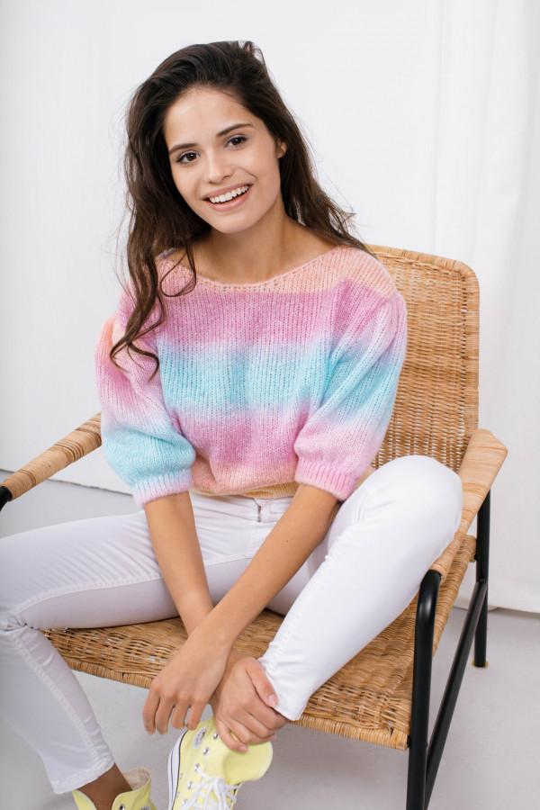 Sweter tęcza z bufkami ROMINA