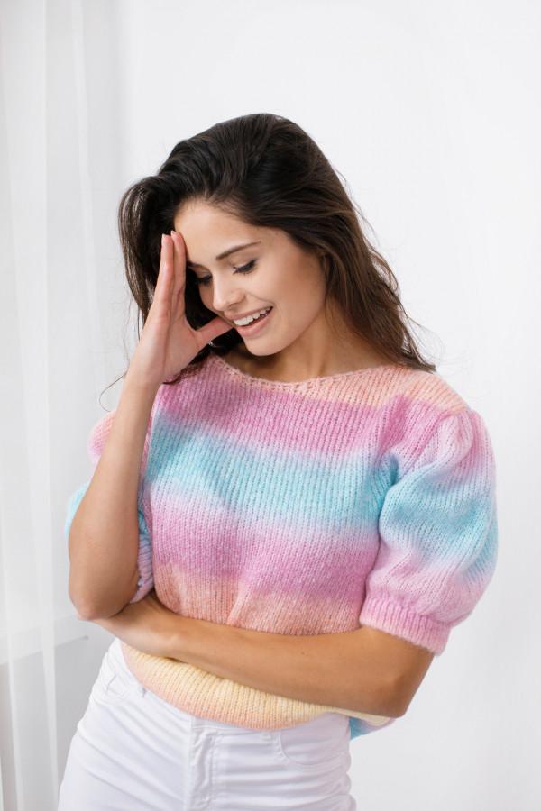 Sweter tęcza z bufkami ROMINA 1