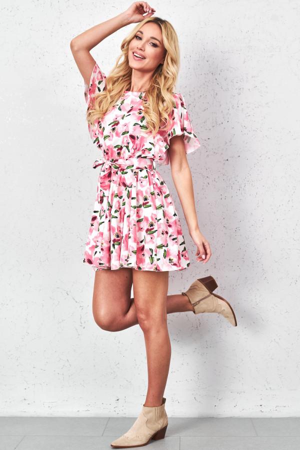 Sukienka w kwiaty z paskiem FIORI 1